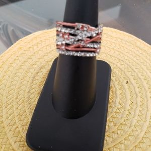 VINTAGE  ☆ Silver, Rose Gold & CZ Ring, 6, CUTE!